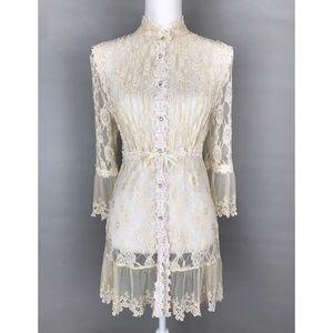 Romantic Lace Blouse Sheer Button Tunic